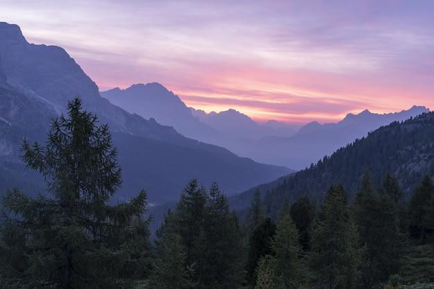 Красивые пейзажи горного хребта в окружении елей под закатным небом Бесплатные Фотографии