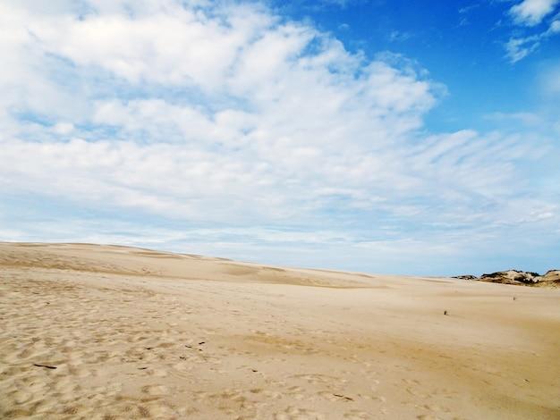Красивые пейзажи песчаного пляжа под пасмурным небом в лебе, польша Бесплатные Фотографии