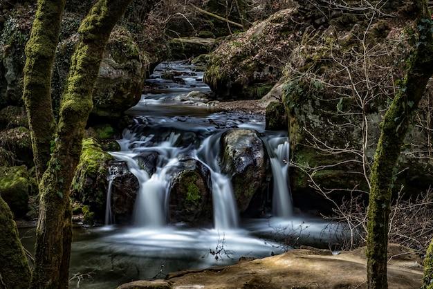 奇岩に囲まれた森の中の滝の美しい風景 無料写真