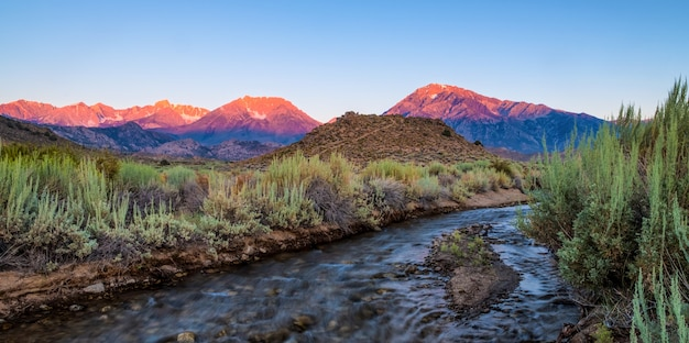 Beautiful scenery of a river surrounded by bushes and mountains Free Photo