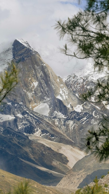 Beautiful scenery of rocky mountains  covered with  fog in gangotri national park Free Photo
