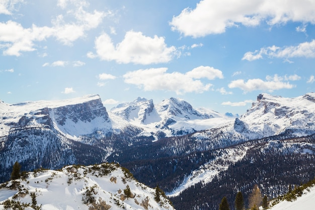 Beautiful scenery of a winter landscape in the alps Free Photo