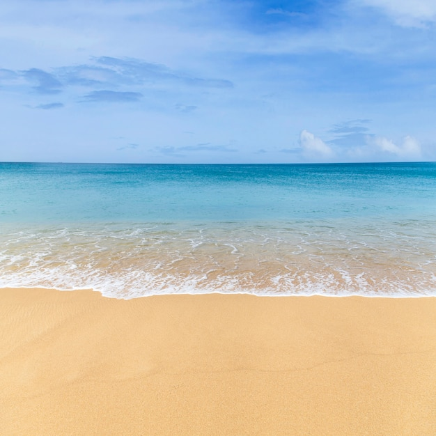 Sand Beach In Summer Sky Background: Beautiful Sea Summer Background, Sand Beach And Blue Ocean