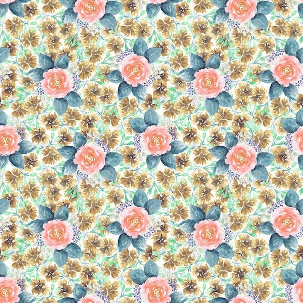 Красивый бесшовный узор с ручной обращается акварель нежные розовые розы с большими листьями для текстиля, оберточной бумаги Premium Фотографии