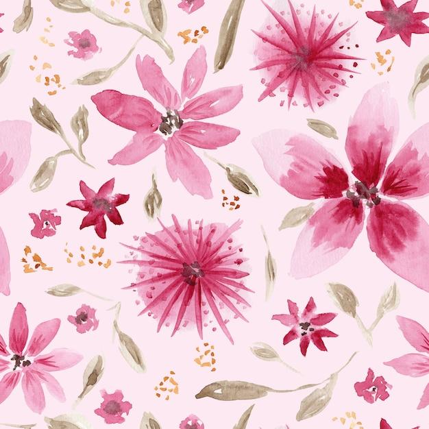 Красивый бесшовный образец с беспорядком рисованной акварели розовых цветов и коричневых листьев на нежном коралловом фоне Premium Фотографии