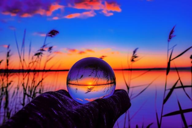 Beautiful selective focus shot of a crystal ball ...