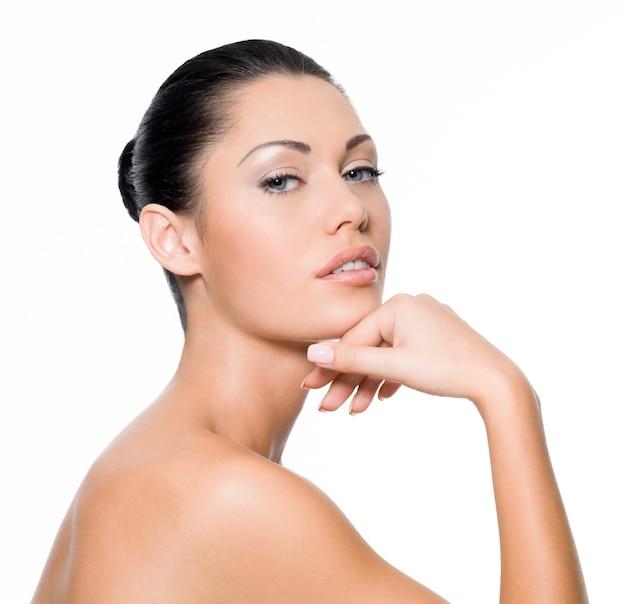 완벽 한 피부를 가진 아름 다운 섹시 한 여자 무료 사진