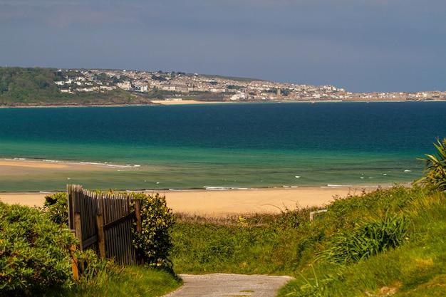 Bello colpo di una spiaggia piena di diversi tipi di piante verdi e case in cornovaglia, inghilterra Foto Gratuite