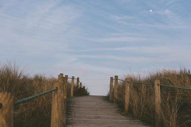 Bella ripresa di una passerella nei campi pieni di erba secca sotto il cielo blu Foto Gratuite
