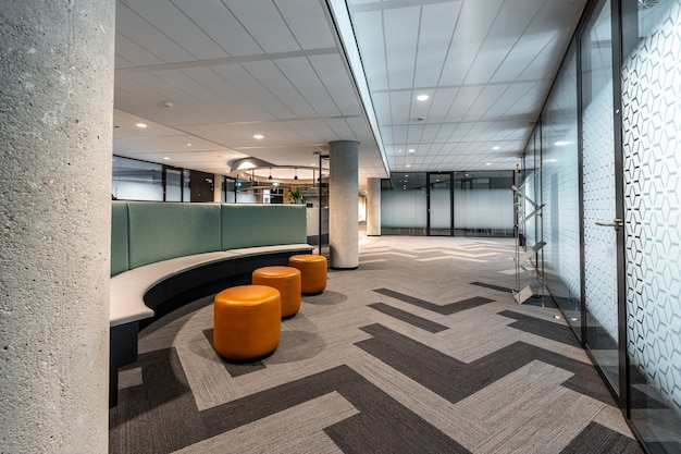Beautiful shot of the modern style open space office interior Free Photo