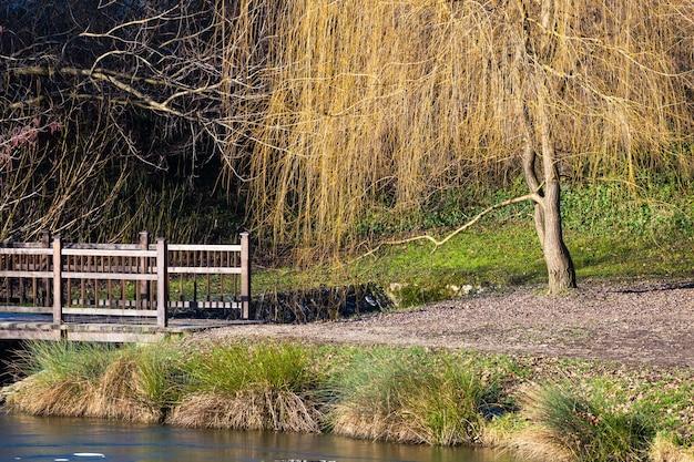 昼間のクロアチア、ザグレブのマクシミール公園の湖にある小さな橋の美しいショット 無料写真