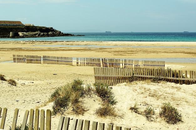 Красивый снимок побережья, полного деревянных заборов на песке Бесплатные Фотографии