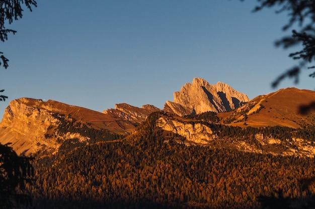 ドロマイトイタリアの背景に青い空と森林に覆われた山の美しいショット 無料写真