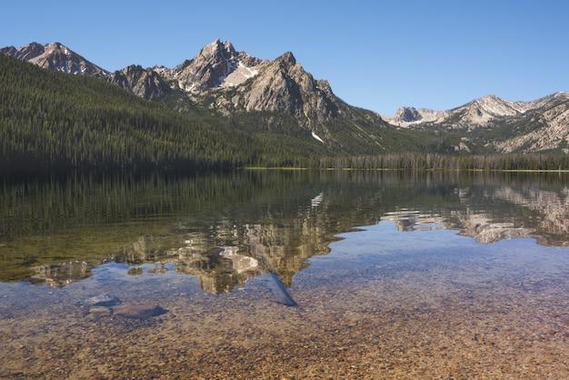 Красивая съемка озера отражая деревья и горы на берегу под ясным голубым небом Бесплатные Фотографии