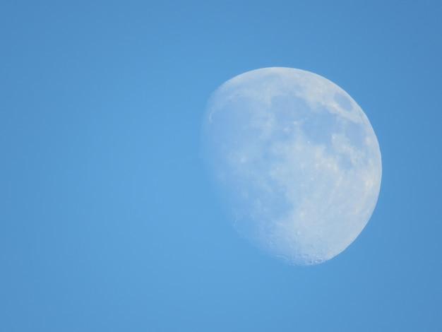 맑고 푸른 하늘에 달의 아름다운 샷 무료 사진