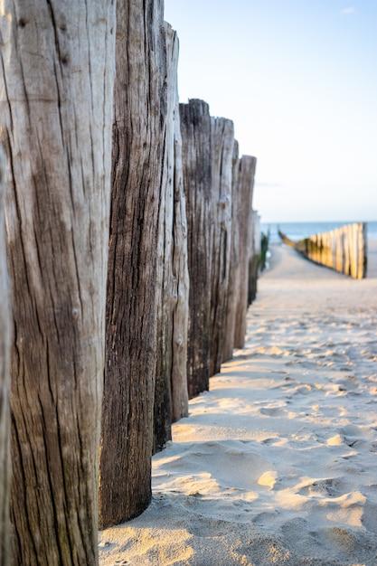 Bellissimo colpo di bastoncini del molo sulla riva di domburg nella provincia di zeeland dei paesi bassi Foto Gratuite