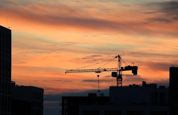 Bellissimo scatto di una sagoma di una gru durante il tramonto Foto Gratuite