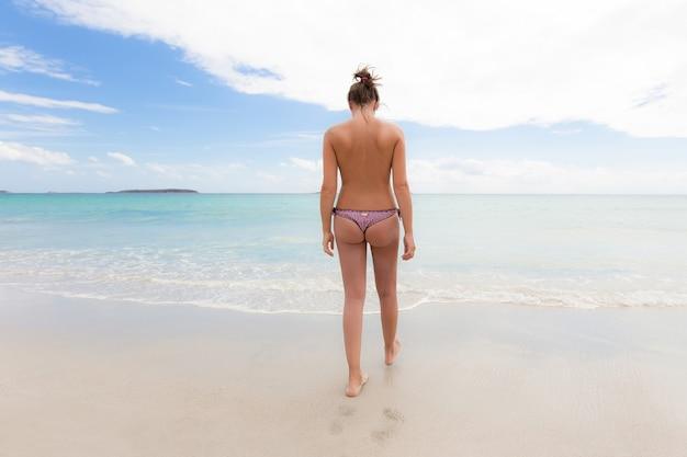Walking Topless On Beach