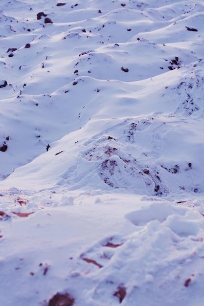 Bello colpo di una superficie nevosa bianca durante il giorno soleggiato Foto Gratuite
