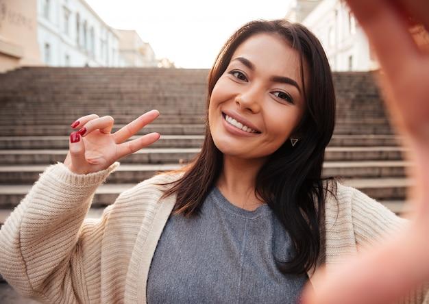 Smile woman take selfie stock image. Image of photo, happy