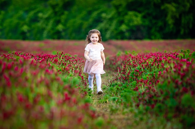 Beautiful smiling child girl in pink dress on field of red clover in sunset time Premium Photo