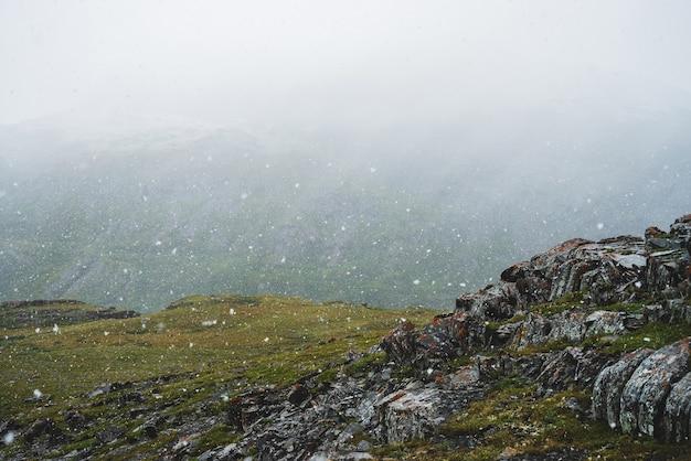 Красивый снегопад в горах. атмосферный зеленый альпийский пейзаж с большими снежинками. острые скалистые камни с лишайниками на холме во время снегопада. замечательные пейзажи высокогорья с хлопьями снега. Premium Фотографии