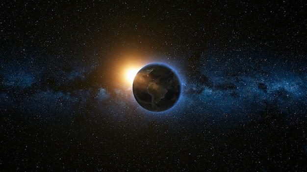 Прекрасный космический вид на планету земля и солнце Premium Фотографии