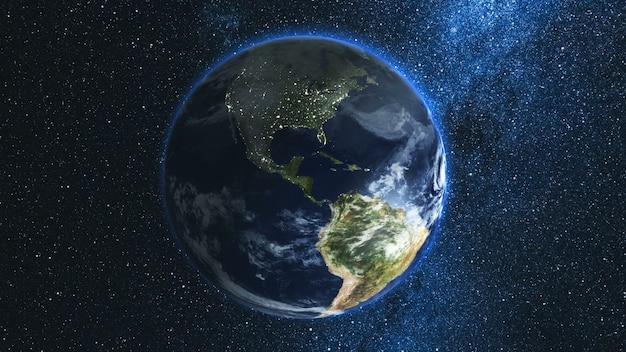 Прекрасный космический вид на планету земля Premium Фотографии