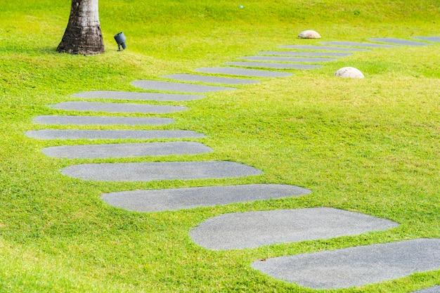 Beautiful stone path walk and run in the garden Free Photo