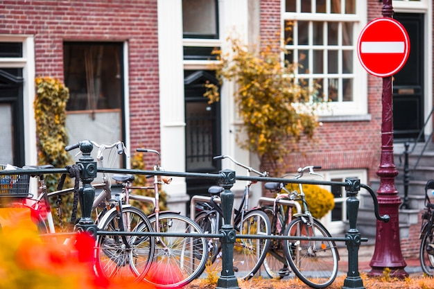 Beautiful street and old houses in amsterdam, netherlands, north holland province. outdoor photo. Premium Photo