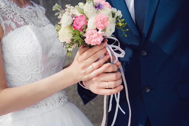 Beautiful summer wedding bouquet. delicate bright flowers for girls Premium Photo