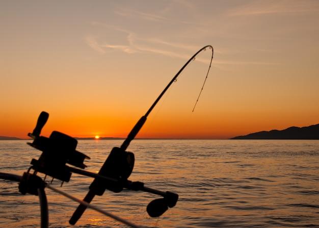 釣り竿のある美しい夕日の風景 無料写真