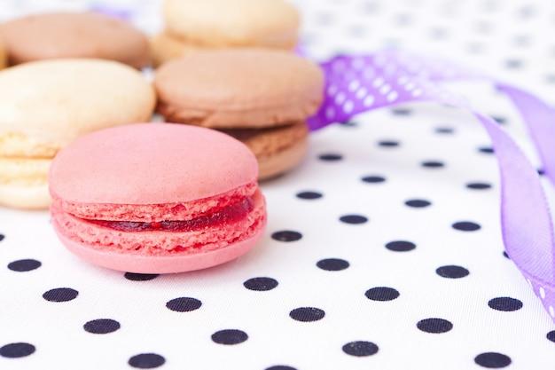 Beautiful and sweet pastries macaroon Premium Photo