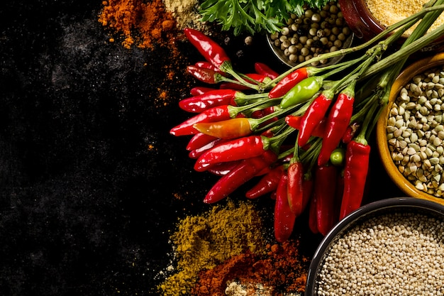Beautiful tasty appetizing ingredients spices red chilli pepper grocery for cooking healthy kitchen. Free Photo