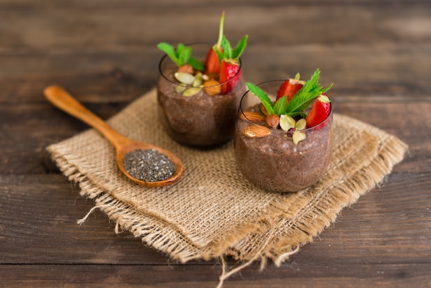 Beautiful and tasty dessert with cocoa Premium Photo