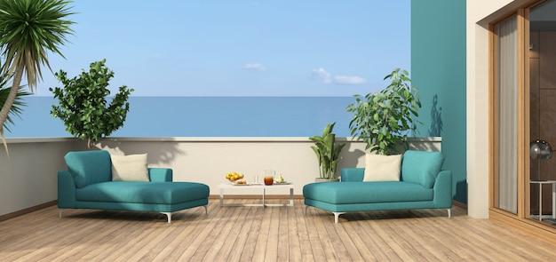 의자 라운지와 바다가 내려다 보이는 아름다운 테라스-3d 렌더링 프리미엄 사진