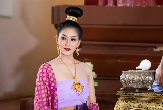 Beautiful Thai Girl In Pink Traditional Dress Costume Of -6130