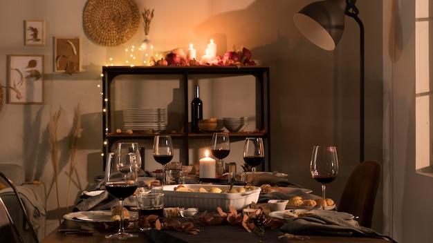 美しい感謝祭の食事のコンセプト 無料写真