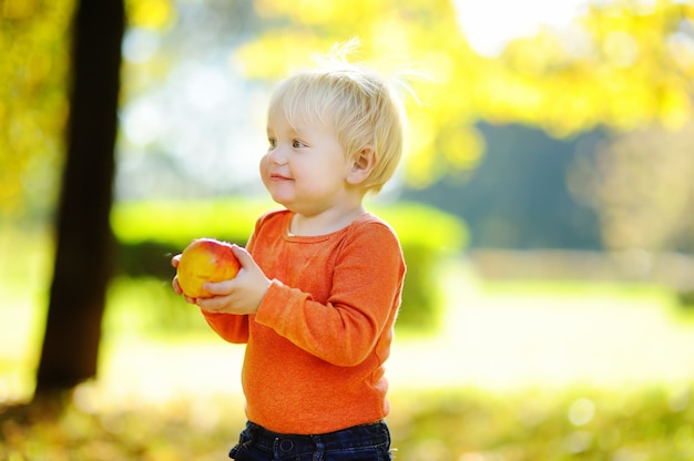 Beautiful toddler boy eating fresh bio pear outdoors Premium Photo