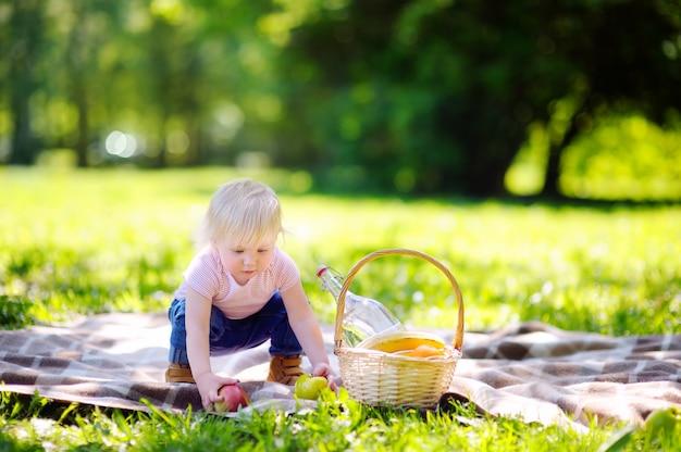 Beautiful toddler child having a picnic in sunny park Premium Photo