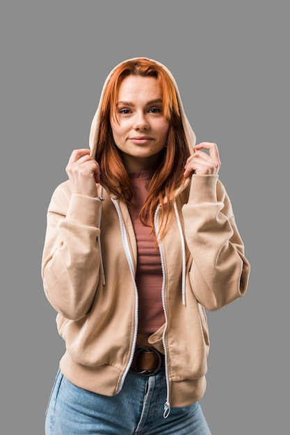 Beautiful trendy woman wearing hoodie Free Photo