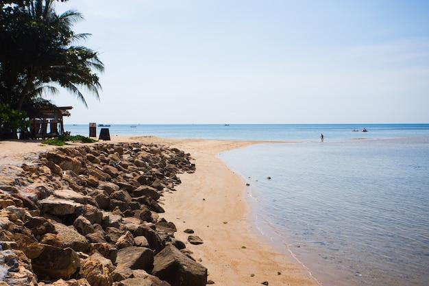 Beautiful tropical beach, blue sea water in island koh phangan, thailand Premium Photo