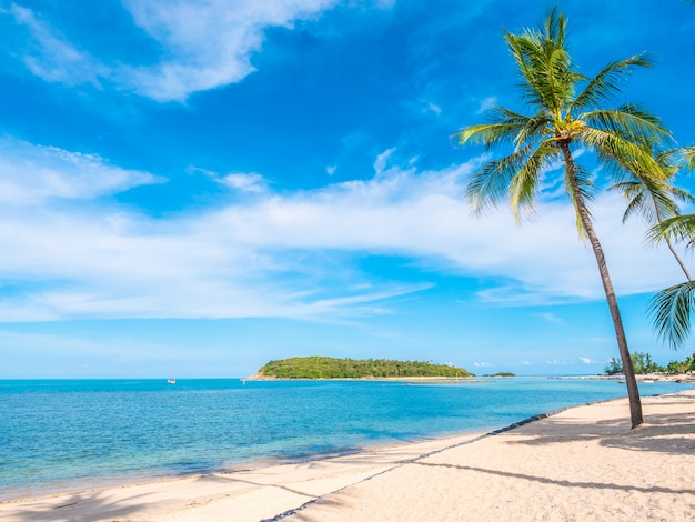 Beautiful tropical beach and sea with coconut palm tree Free Photo