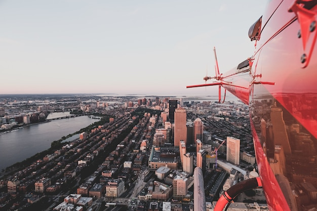 Beautiful urban city shot from a helicopter Free Photo