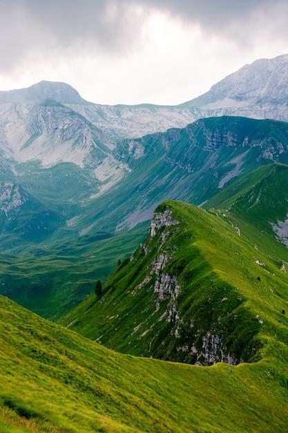 緑の芝生で覆われた長い山頂の美しい垂直ショット。壁紙に最適 無料写真