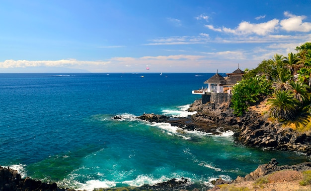 Beautiful view on atlantic ocean and costa adeje, tenerife, canary islands. Premium Photo
