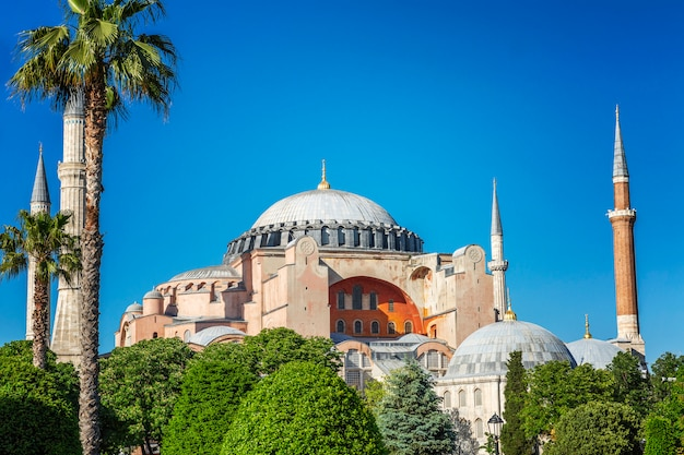 Beautiful view of aya sofia on a sunny clear day. bright blue sky, magnificent landscape. Premium Photo