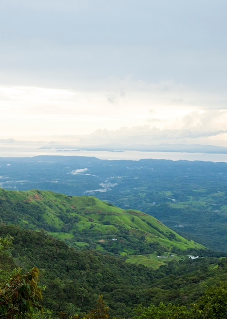 Beautiful view of costa rican rainforest from mountain top Free Photo