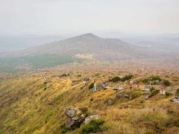 Beautiful view from the high angle of the top of the hallasan mountain at jeju island, south korean. Premium Photo