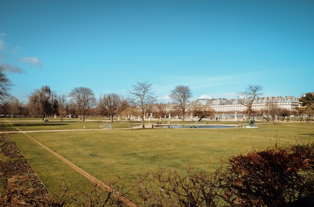 Bella vista di un giardino verde sotto il cielo blu chiaro catturato a parigi, francia Foto Gratuite